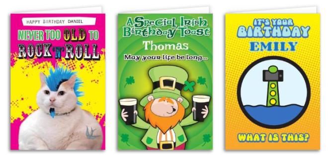 Na Irlanda existe cartões para todos gostos, idades e temas. Reprodução: Gift.ie