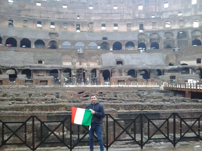 Breno Imenez no Coliseu em Roma. Foto: Arquivo Pessoal