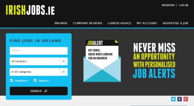 O IrishJobs te permite buscar empregos através de agências ou diretamente com o empregador. Foto: Reprodução