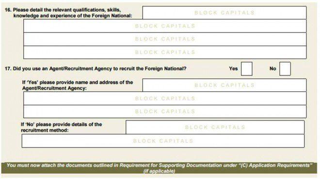 Exemplo de perguntas que a atenção deve ser redobrada ao responder. Créditos: General Emplyment Permit.