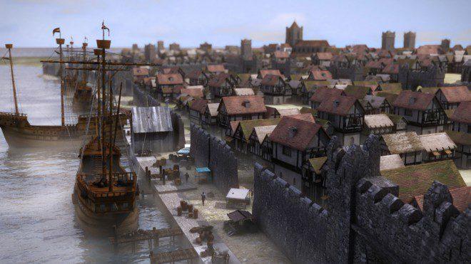 Imagem simula como era Dublin no século 16. Reprodução: Irish Archaeology