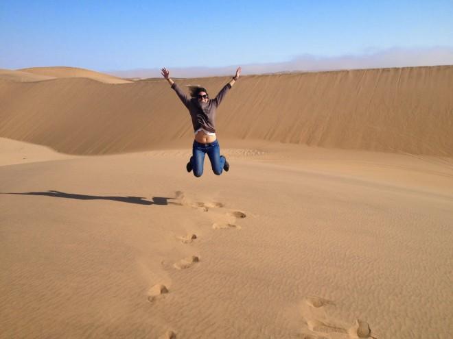 De braços abertos para a vida. Deserto da Namíbia. Arquivo Pessoal