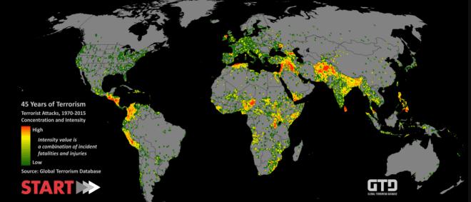 Estima-se que no ano passado (veja o mapa), mais de 330 ataques terroristas aconteceram no mundo, totalizando 2038 mortes (oficiais).