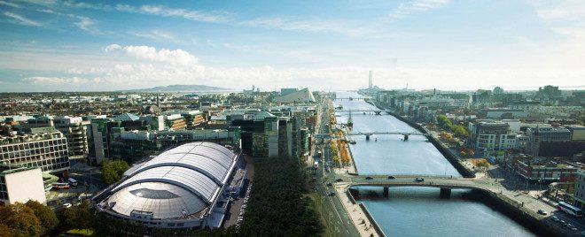Vista aérea da praia indoor de Dublin