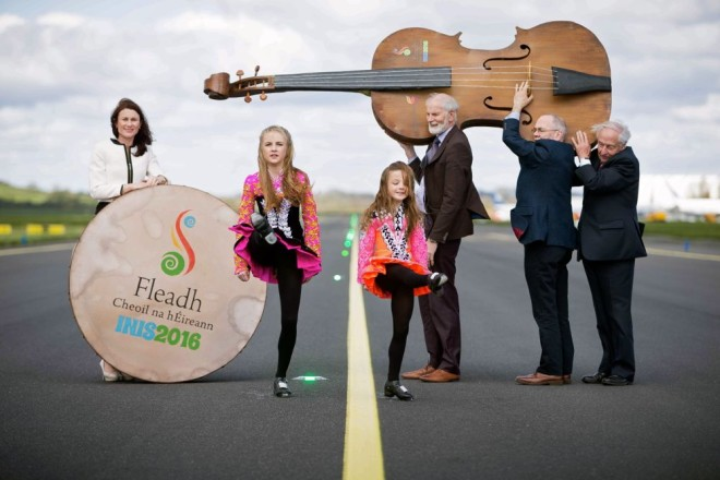 "**NO REPRO FEE** 26042016 Fleadh Cheoil na h…ireann Inis 2016 lifts off as Shannon Airport comes on board as main sponsor. At the announcement were dancers Aimee and Zoe Keane with Mary Considine, actiing CEO Shannon Group, Frank Whelan,Vice Chairman Fleadh Executive Committee, MÌche·l "" Riabhaigh, Chairman Fleadh Cheoil Executive Committee and P·draig O Dufaigh, National Treasure Comhaltas CeoltÛiri …ireann. Photograph by Eamon Ward (Further information available from Eugene Hogan 0872497290 eugene.hogan@bridgepr.ie)"