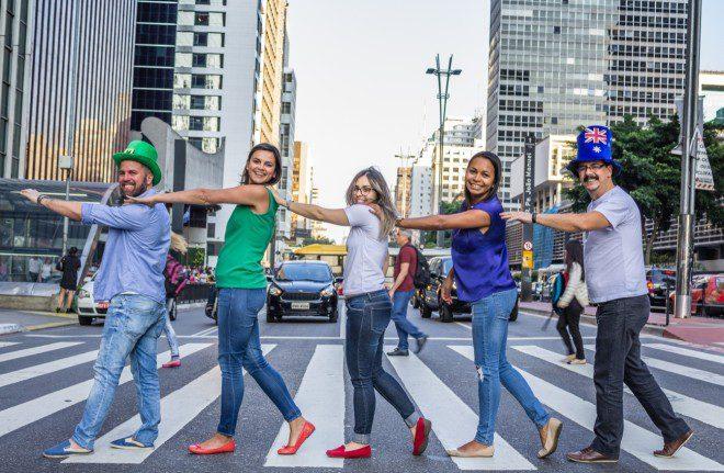 Equipe Vital Intercâmbios no Brasil: Osvaldo Junior, Juliana, Mariana, Ingrid e Gilson