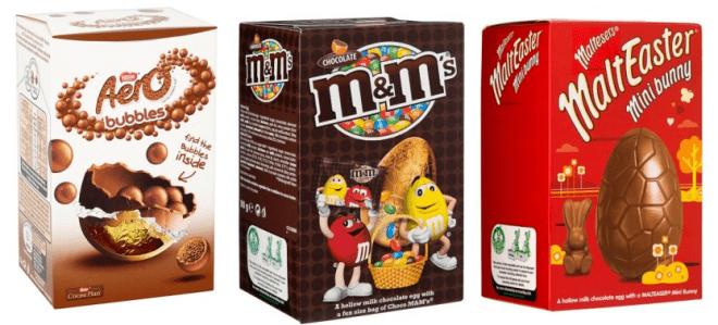 Na Irlanda também é possível encontrar ovos de 90g de marcas tradicionais por 1.5 euros nas lojas Dealz e Eurogiant. As famosas lojas de 2 euros. Imagem: Reprodução