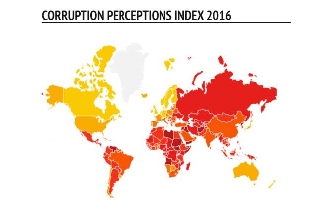 Para conhecer os países mais e menos corruptos acesse o link. http://www.transparency.org/cpi2016.