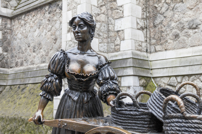 Molly Malone é uma personagem do folclore irlandês, tema de uma música que todos os dias é tocada nos pubs de Dublin. Foto: Giancarlo Liguori