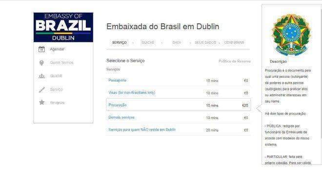 Serviço deve ser agendado com antecedência no portal da Embaixada. Imagem: Embaixada Brasileira em Dublin