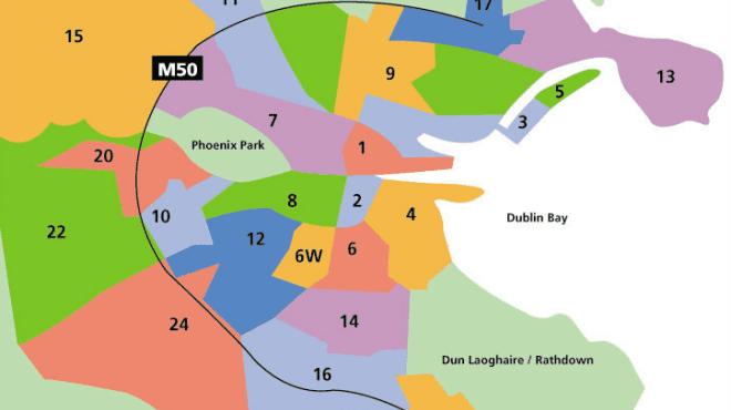 Mapa de Dublin: mas que raios são Dublin 1, 2, 3 ou 24?