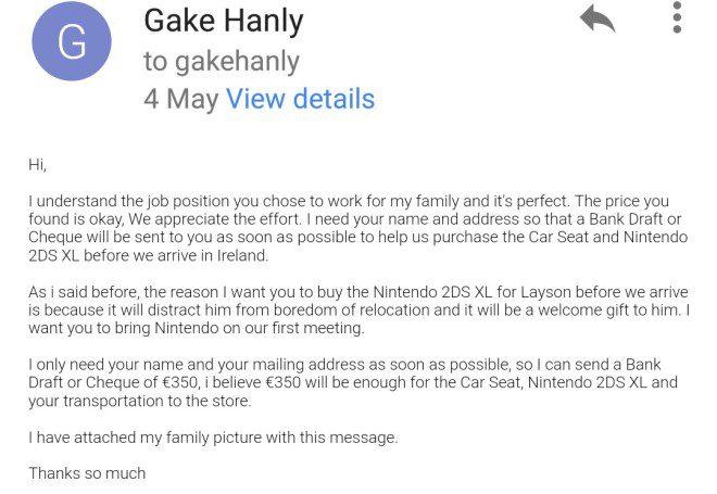 Cópia do e-mail enviado à vítima com nome (supostamente falso) do golpista. Foto: Acervo pessoal