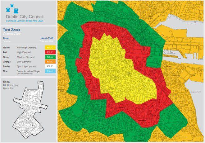 Mapa mostra zonas de estacionamento em Dublin. Foto: Dublin City Council