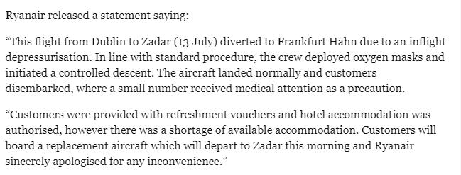 Ryanair faz pouso de emergência em FRankfurt. Reprodução Independent.ie