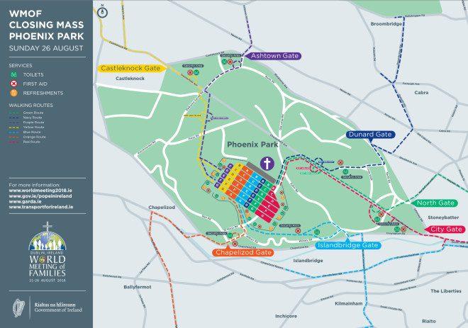 São sete rotas disponíveis para o público chegar ao local da missa com o papa Francisco no Phoenix Park. Foto: Reprodução