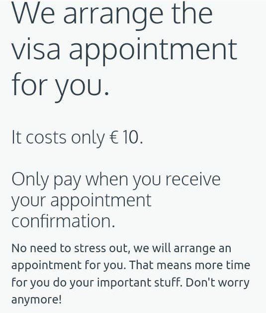 Imagem mostra anúncio de site que oferece o serviço de agendamento pelo preço de 10 euros. Foto: reprodução/Facebook