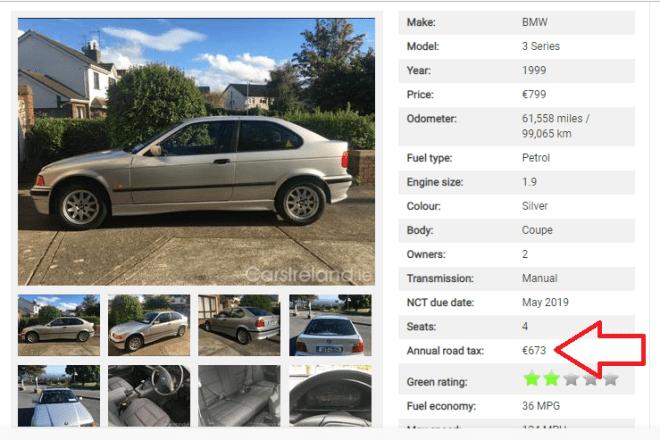 Vale a pena ficar atento também a taxa atual a ser paga ao governo pela circulação do carro. Rerodução: Carsireland.ie