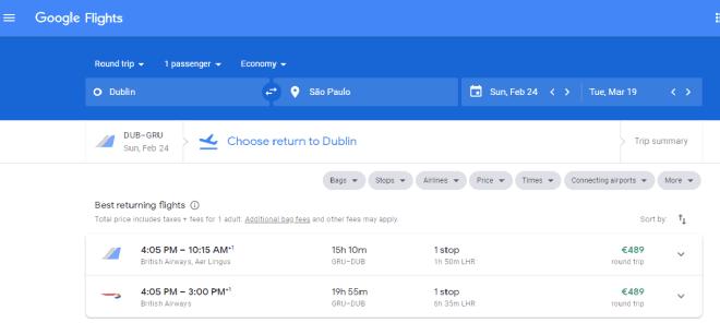 Imagem: Google Flights