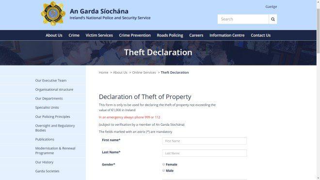 Espaço no website da Garda para fazer boletins de ocorrência online em casos de furtos até 1.000 euros