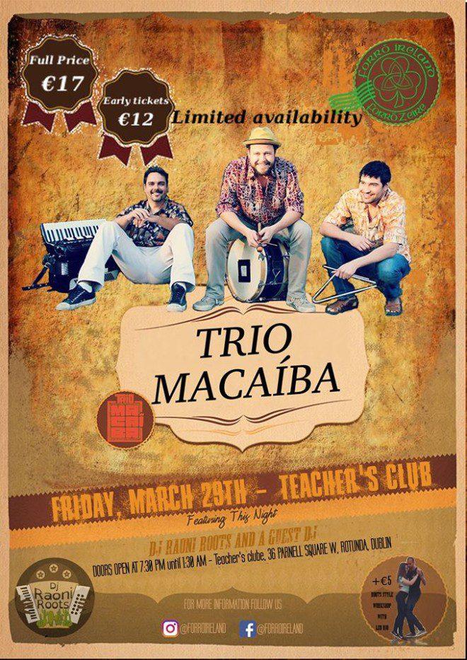 Trio Macaiba se apresenta em Dublin. Foto: Forro Ireland