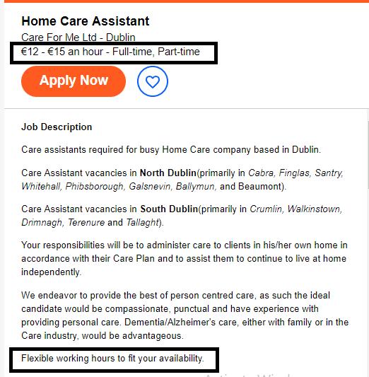 Boa parte das vagas oferecem flexibilidade de horários e contratos Part-time. Fonte.indeed.ie