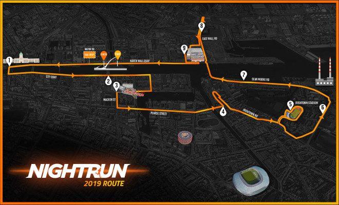 Percurso da corrida passa pelo centro de Dublin. Foto: Night Run
