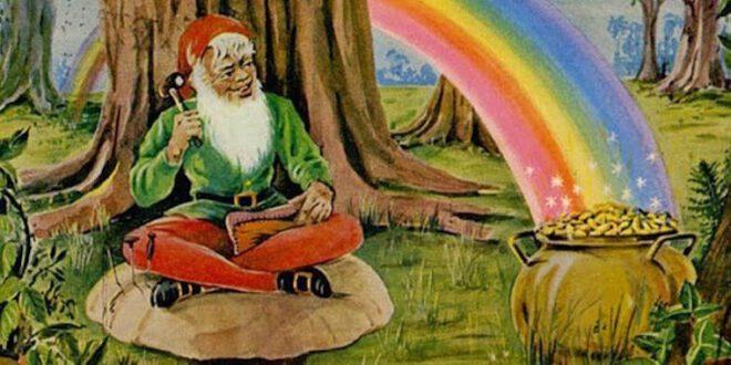 desenho de um leprechaun, pote de ouro e arco-íris feito por Brian Froud