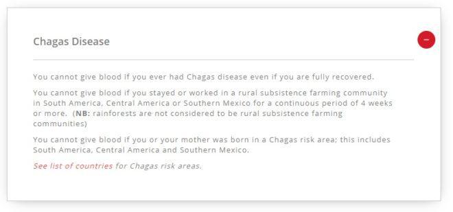Irish Blood Transfusion pontua as regiões onde a Doença de Chagas é presente e a restrição por doadores das referidas regiões. Reprodução